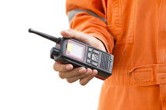 Isolated background.Portable walkie-talkie radio Stock Image