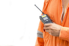 Isolated background.Portable walkie-talkie radio Stock Photo