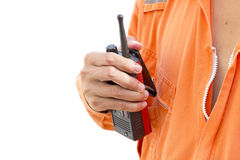 Isolated background.Portable walkie-talkie radio Royalty Free Stock Photography