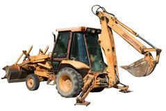 Isolated Backhoe. An isolated backhoe with the shovel raised and the balance bars lowered stock photography