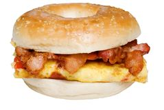 Isolated Bagel Omelet and bacon  sandwich close up Stock Photography