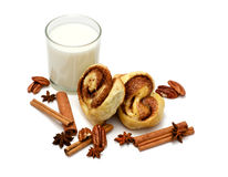 Isolated baked buns with milk Stock Photography