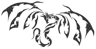 Isolated balck Dragon tattoo Royalty Free Stock Images