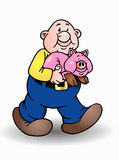Isolated bald man and pig Royalty Free Stock Image