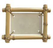 Isolated bamboo frame. On white background for annoncement with clipping path Royalty Free Stock Photo