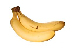 Isolated bananas. Tasty yellow bananas against white background Stock Image
