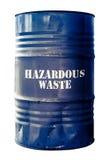 Isolated Barrel Of Hazardous Waste. Grungy Isolated Drum Or Barrel Of hazardous Waste stock image