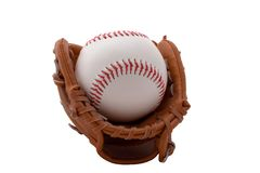 Isolated baseball. An isolated baseball in a mini baseball glove Royalty Free Stock Photography