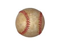 Isolated baseball. Isolated vintage baseball with red strings Royalty Free Stock Image