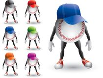 Isolated baseball characters wearing visors. Baseball cartoon characters isolated wearing multiple colored hats Royalty Free Stock Images