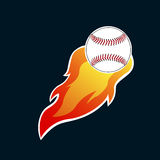 Isolated baseball emblem. With a ball on fire, Vector illustration Stock Photos
