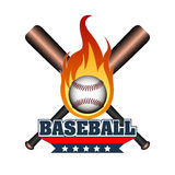 Isolated baseball emblem. Isolated pair of baseball bats with a ball on fire, Vector illustration Royalty Free Stock Images