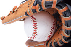 Isolated baseball glove with ball Royalty Free Stock Photos