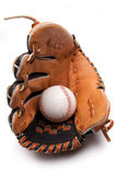 Isolated baseball glove with ball Stock Photos