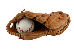 Isolated baseball glove with ball Royalty Free Stock Images