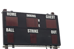 Isolated Baseball Scoreboard. A baseball scoreboard, Isolated on white Stock Image