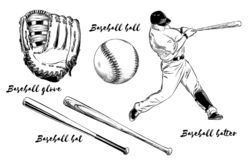 Isolated baseball set on white background. Hand-drawn elements such as baseball player, glove, bat and ball. Vector stock illustration