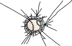 Isolated Baseball Stuck in Glass Royalty Free Stock Images