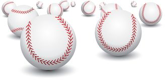 Isolated baseballs. Isolated picture of scattered baseballs Stock Photo