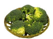 Isolated basket with broccoli florets Royalty Free Stock Photography