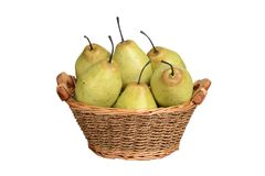 Isolated basket of pears stock photo