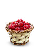 Isolated basket with raspberry Royalty Free Stock Photo