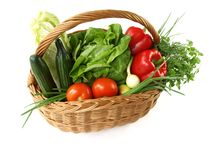 Isolated basket with vegetables Royalty Free Stock Photos