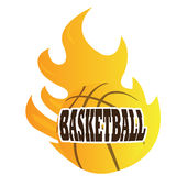 Isolated basketball ball. On fire, Vector illustration Royalty Free Stock Images