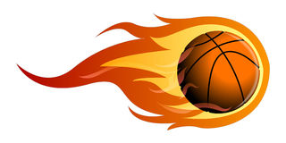 Isolated basketball ball. On fire, Vector illustration Stock Images