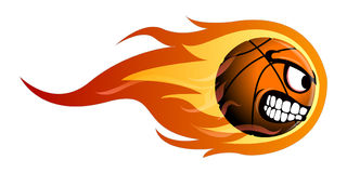 Isolated basketball ball. On fire, Vector illustration Royalty Free Stock Photo