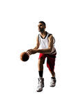 Isolated basketball player in action is flying Royalty Free Stock Photo