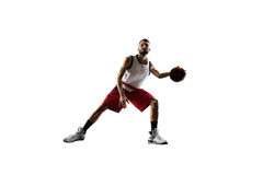 Isolated basketball player in action is flying Stock Image