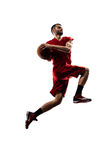 Isolated basketball player in action is flying Stock Images