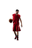 Isolated basketball player in action is flying Royalty Free Stock Image