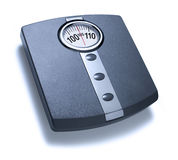 Isolated Bathroom Scales. With a large viewing dial. Could be metric or imperial measurement Royalty Free Stock Photos