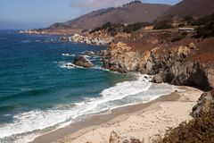 Isolated beach Big Sur California Stock Photos