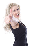 Isolated beautiful blond young woman with thumb up Stock Image