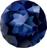Isolated beautiful faceted sapphire. Round faceted blue gem stone on white background Stock Photo