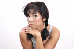 Isolated beautiful woman hand under her chin, whit Stock Photos
