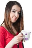 girl holding mug in her hand Isolated on white bac Royalty Free Stock Photos
