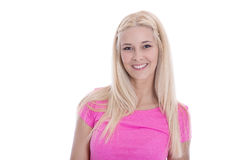 Isolated beautiful young woman in pink shirt with smiling face. royalty free stock photography