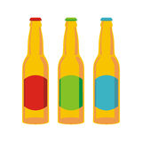 Isolated beer bottles set Royalty Free Stock Photos