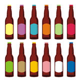 Isolated beer bottles set. Vector illustration of different isolated beer bottles Stock Image