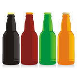 Isolated beer bottles set. Vector illustration of isolated beer bottles set Stock Image