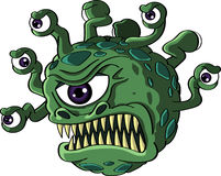 Isolated beholder monster. Isolated vicious green beholder monster with a Cyclops type central eye and a head full of tentacles each bearing a smaller eye - sci Royalty Free Stock Photography