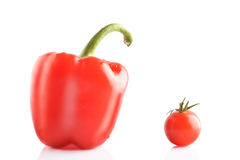 Isolated bell pepper and tomato Stock Photos