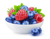 Isolated berries in a bowl Royalty Free Stock Photos