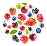 Isolated berries in a circle. Isolated fresh berries in a circular composition. A group of strawberry, cherry, blackberry and other fresh berries isolated on royalty free stock photos