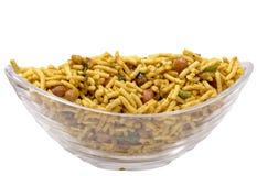 Isolated besan lehsuniya,south indian namkeen in bowl Royalty Free Stock Photos