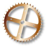 Isolated Bicycle Driving Cog. The front gearing cog of a bicycle Royalty Free Stock Images